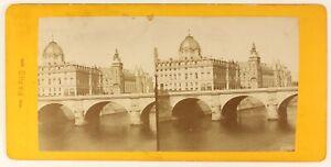 Parigi La Senna Francia Foto Stereo PLL4n Vintage Albumina c1878