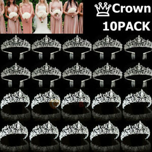 Lot Bridal Princess Austrian Crystal Tiara Wedding Crown Veil Hair Accessory