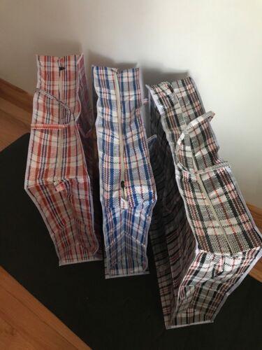 "6x Plastic Zipper Bag Woven Laundry Shopping Storage Bags 32/"" x 32/"" x 10/"" NEW"