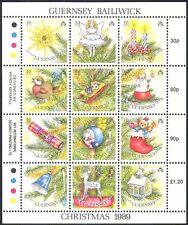 Guernsey 1989 árbol de Navidad saludos///Teddy Bear/Ciervo/Robin 12v m/s (b6195)