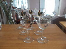 6 Antique DORFLINGER Rooster Chicken Stemmed Glasses - Assorted Sizes