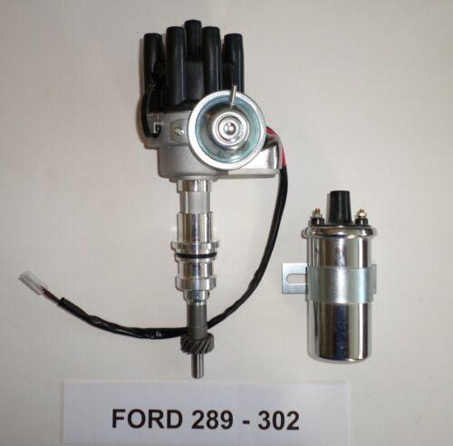 Small Block FORD 260-289-302 BLACK FEMALE Small Cap HEI Distributor Chrome Coil