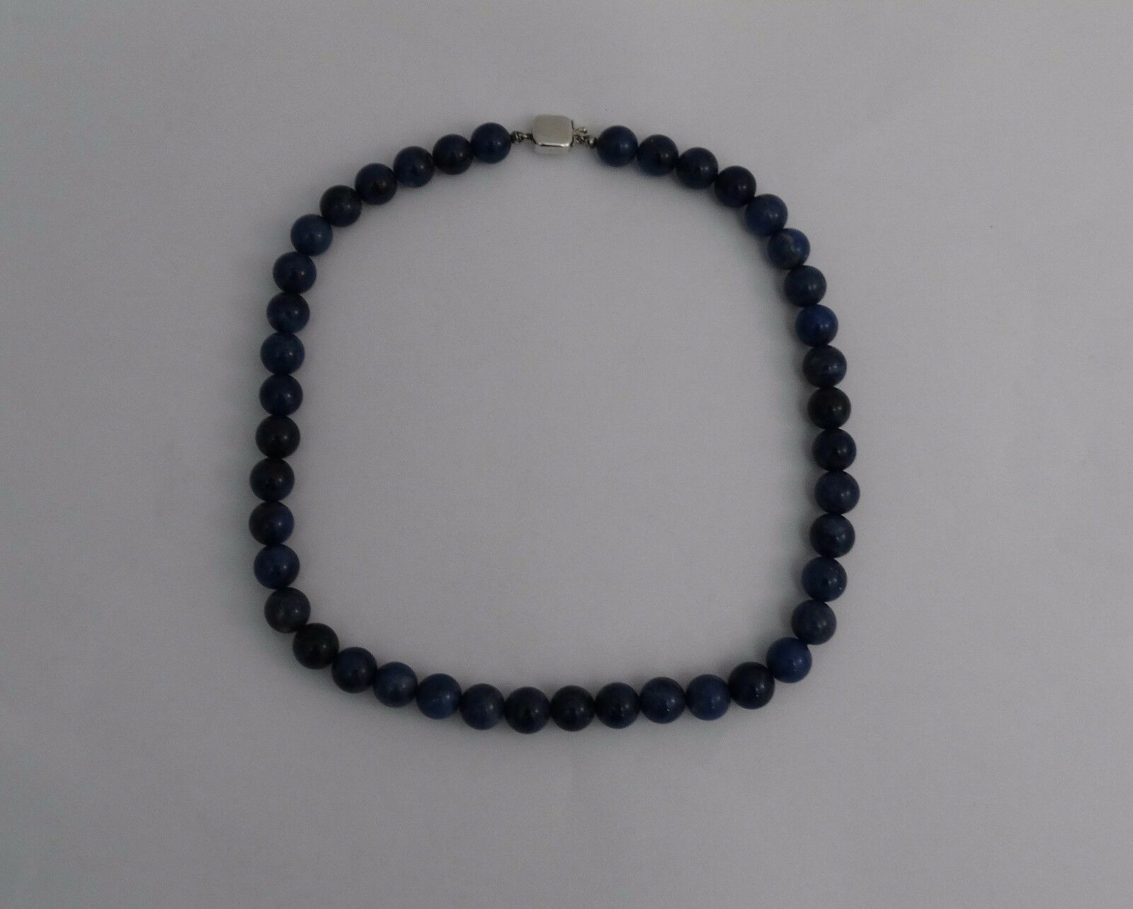 9mm Single Strand Lapis Beads 16  14k White gold Clasp