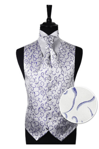 "Size 34/"" Men/'s Purple Scroll Wedding Party Waistcoat 58/"" Choice Cravat or Tie"