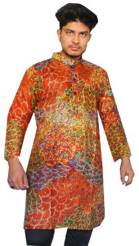 Indian 100/% Cotton Men's Shirt Kurta Peacock Print Loose Fit Multi Color S 7XL