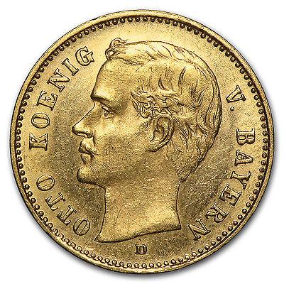 1890-1912 Germany Gold 10 Mark Bavaria Otto Avg Circ