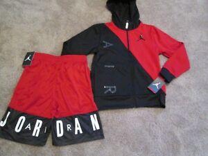 161bb6f05 NEW Boys NIKE 2Pc OUTFIT AIR JORDAN Zip Black Hoodie+Red Shorts YMD ...