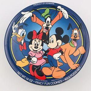 Vintage Disney Mickey Mouse Minnie Pluto Goofy Donald Duck Round Tin Denmark