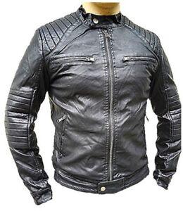 Manteau Homme Veste hiver simili cuir Blouson Jacket fourrure ... 661e02f178e4