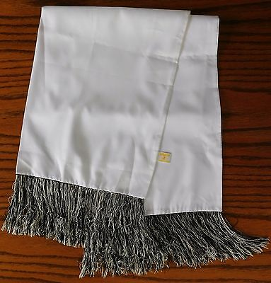 Akco evening opera scarf black white fringe vintage 1960s Excellent condition