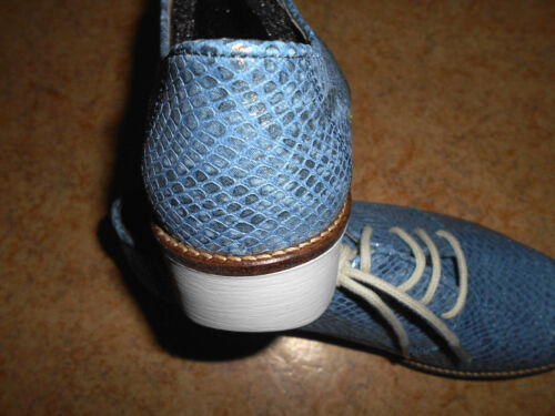 Neu Top Footwear 38 jj 37 Metalic Damen 36 lederschnürer Gr Blau SwqTC