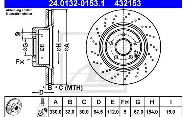 ATE Juego de 2 discos freno 330mm Ventilador/perforado 24.0132-0153.1