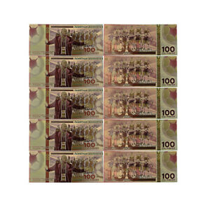 5 pcs 2018 Russian World Cup Gold Banknote 100 Ruble 24k Gold Plated Bill Note