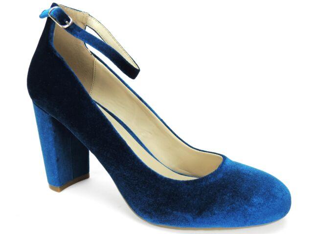6cc75b193a3 Fergalicious Women s Daisy Ankle Strap Pumps Blue Velvet Size 7.5 M
