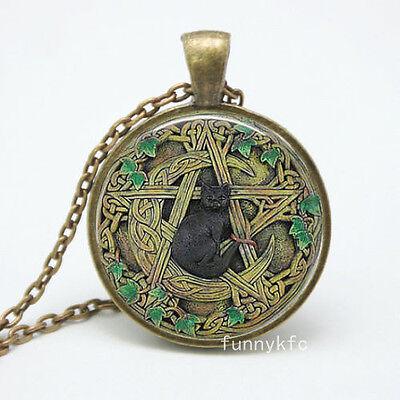 Vintage cat Cabochon Bronze Glass Chain Pendant Necklace !