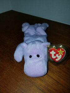 Ty Beanie Baby Happy the Hippo PVC with Tag Errors Retired FREE SHIP ... b9dee890dbb2