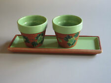 TRAY & 2 CANDLE HOLDERS / FLOWER POTS   Handmade Ceramic.  Quebec,  Can.