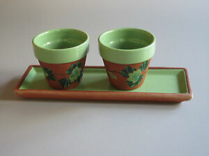 TRAY-amp-2-CANDLE-HOLDERS-FLOWER-POTS-Handmade-Ceramic-Quebec-Can