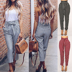 48919581f Image is loading Women-Striped-Paperbag-Pencil-Pants-Casual-High-Waist-