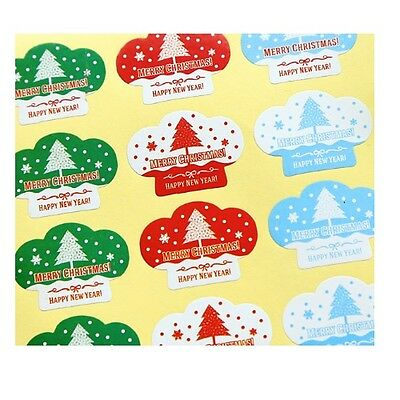 Christmas Gift Seal Stickers /'MERRY CHRISTMAS/' /'HAPPY NEW YEAR/' Red Blue Green