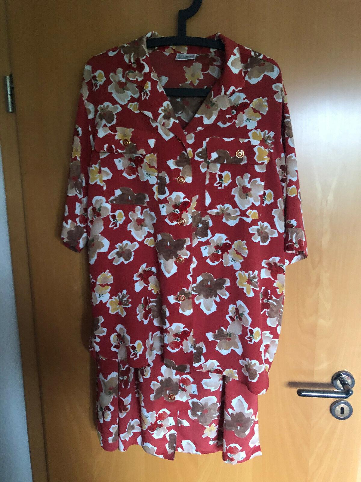 DelMod: 2 tlg. Sommerkleid, rot geblümt, Gr. 40