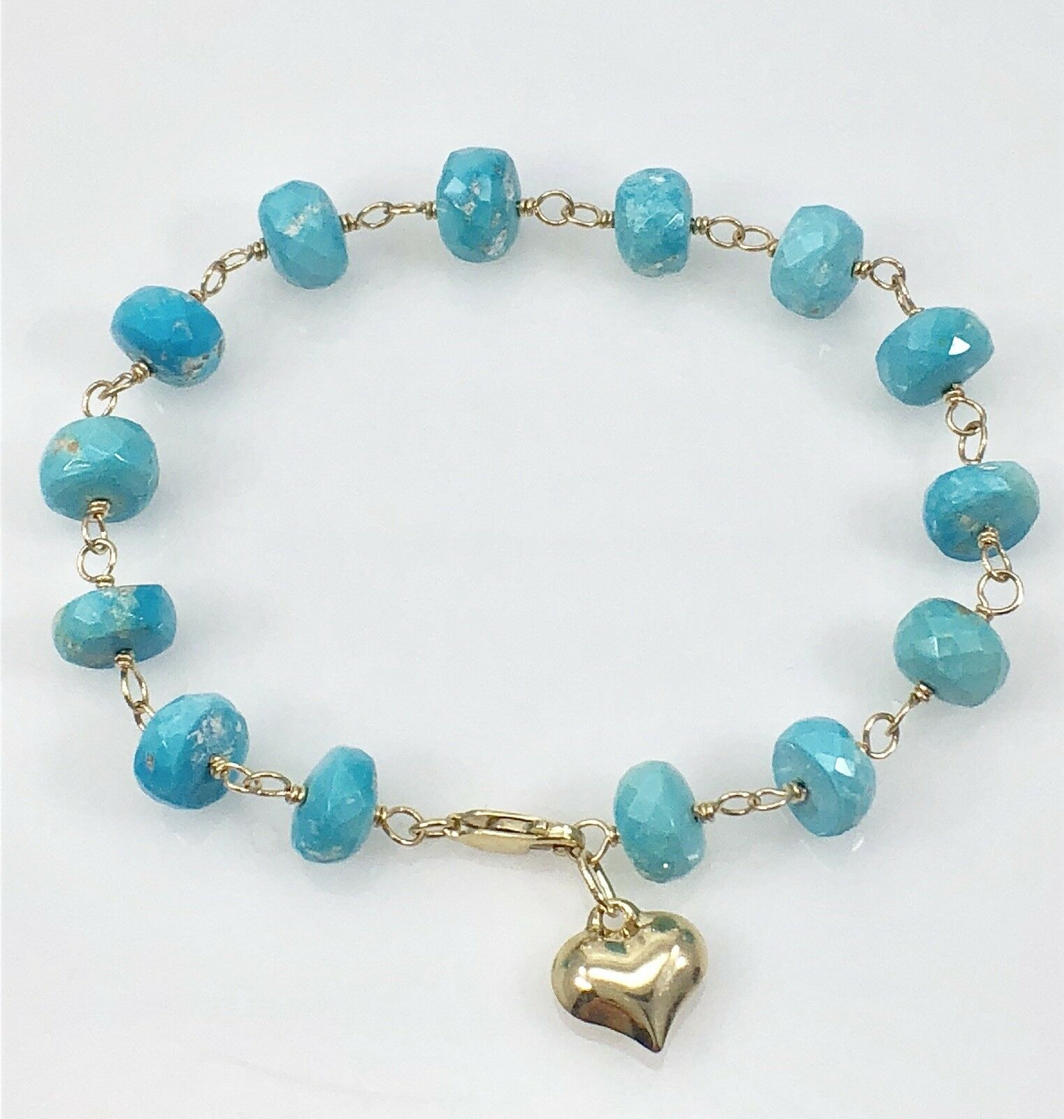 Sleeping Beauty Turquoise & Solid 14kt Yellow gold Bracelet, 7 , New