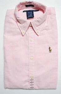 NEW POLO Ralph Lauren Womens Slim Fit OXFORD Dress Shirt Pink STRIPE ... fc2f41e6def52