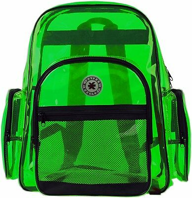 Green Clear Transparent PVC Multi-pockets School Backpack/ Outdoor K-Cliffs