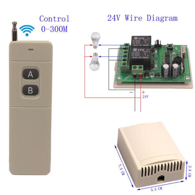 300M Long Range DC 24V 2 CH Wireless Switch Remote Control Receiver  Transmitter