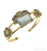 Monet Clustered Green Stone Gold-tone Cuff Bracelet