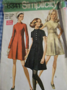 Vintage-tent-dress-pattern-1969-pleated-center-front-seam-size-14-Miss-Petite