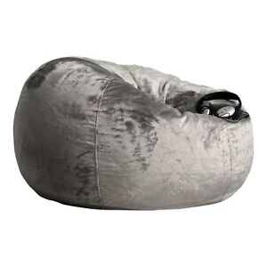 Cool Details About Fur Beanbag Cover Extra Large Charcoal Velvet Soft Bean Bag Grey Chair Andrewgaddart Wooden Chair Designs For Living Room Andrewgaddartcom