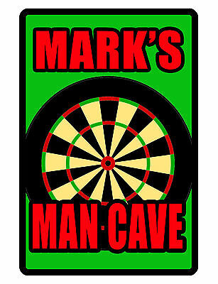 """PERSONALIZED HD MANCAVE SIGN /""""YOUR NAME/"""" DURABLE GLOSS ALUMINUM HI COLOR #D547"""