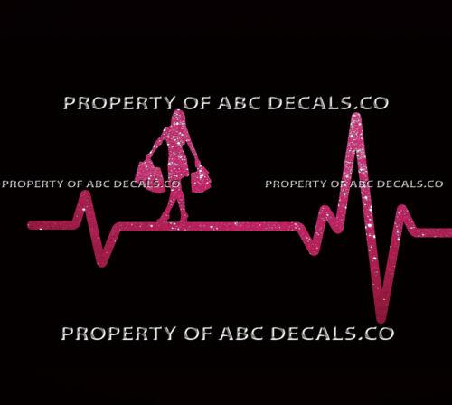 VRS Heart Beat Line SHOPPING Girl Shoes Bag Makeup Dress Jewelry CAR METAL DECAL