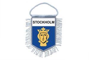 Flagge Mini Flagge Land Auto Deko Souvenir Wappen Stockholm Velourleder