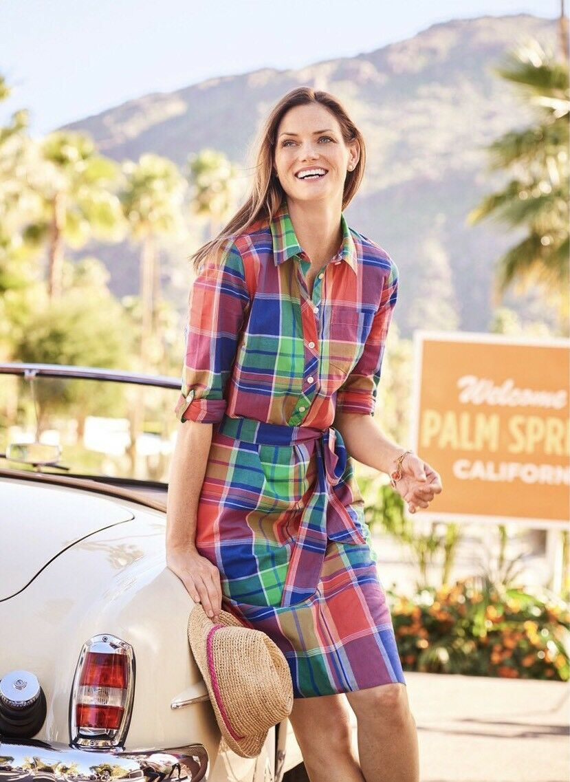 NWT TALBOTS WOMENS COTTON MULTIcolorD PLAID BELTED SHIRT DRESS SIZE 16P