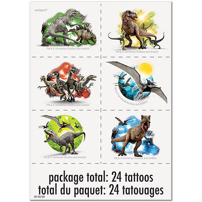 24 Jurassic World Park Temporary Tattoos Party Bag Fillers