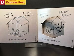 JUSTIN BIEBER x ARIANA GRANDE STUCK WITH U HAND SIGNED CD COVER + SEALED CD NEW
