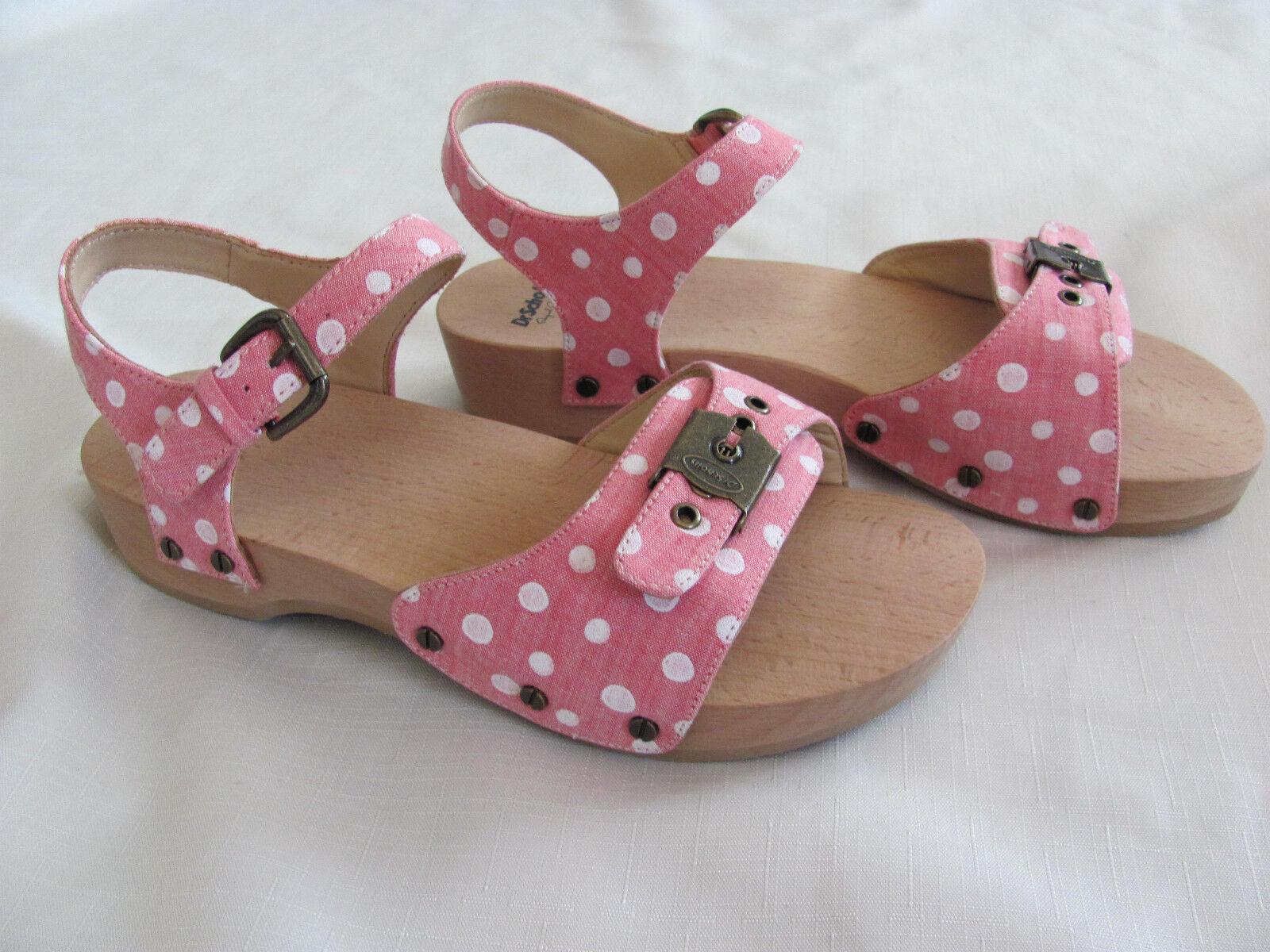 Dr Scholl's Original Lola Platform Sandals-rosado & blanco Polka Dots Dots Dots Talla 9M - NIB  estilo clásico