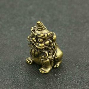 Chinese-Antique-Brass-Mythical-Animal-unicorn-Small-Statue-Ornament-Lucky-Pocket