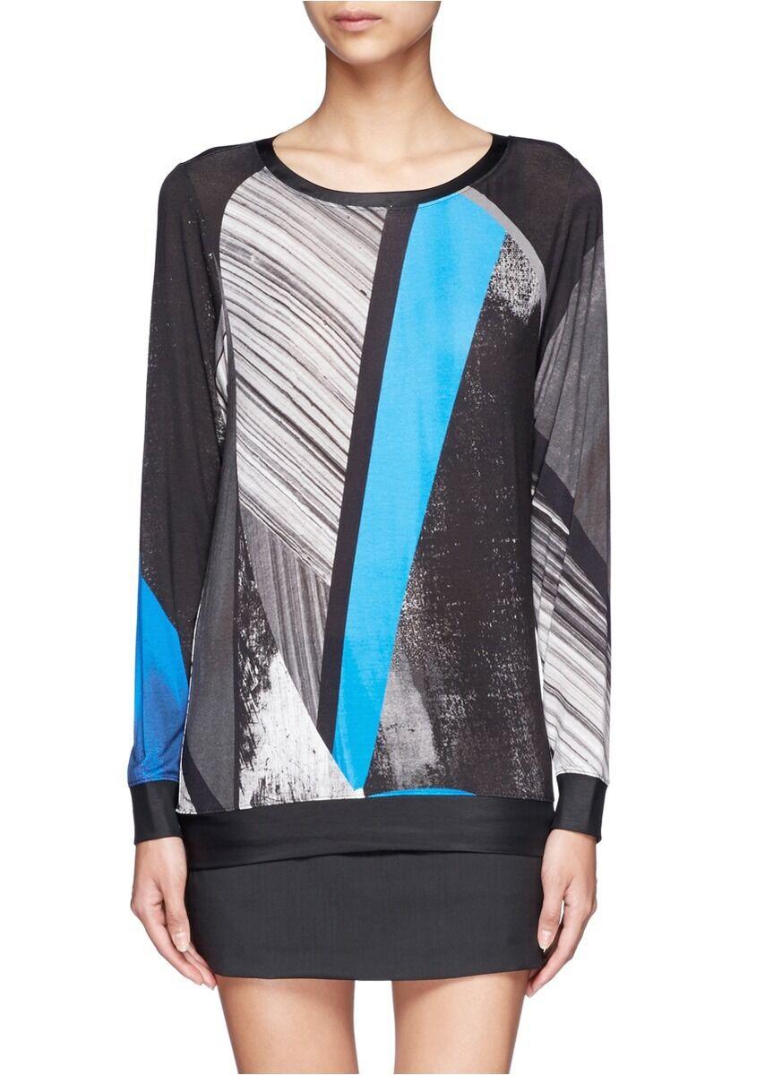 HELMUT LANG Fracture Print Jersey Sweatshirt Top Größe P XS