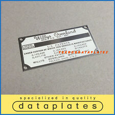 WILLYS OVERLAND JEEP PATENTS  DATA PLATE M38 M38A1 NEKAF M170 KAISER ID TAG