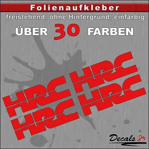 4er-SET-HRC-Sponsoren-Folienaufkleber-Auto-Motorrad-30-Farben-8cm