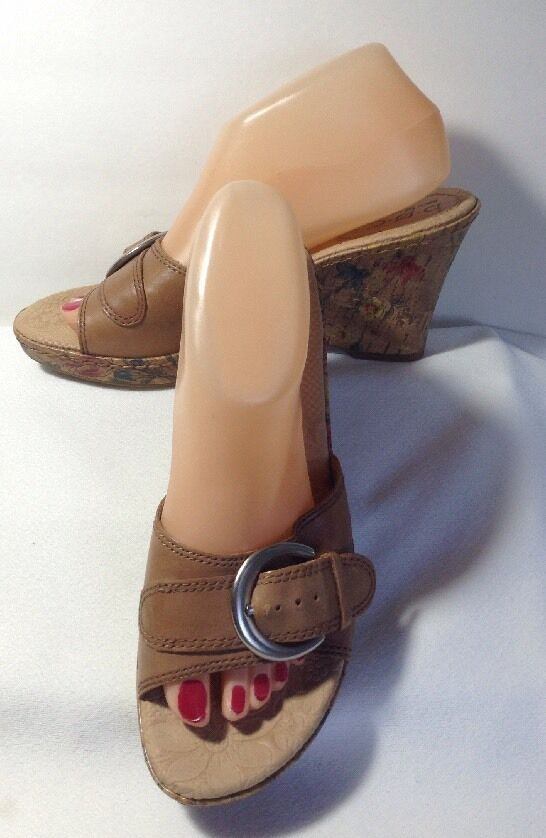 b.o.c. Brown Wedge Leather Wedge Brown Sandals Size 9 c7632b