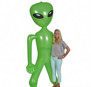 """2 GIANT 96""""-100"""" INCH ALIEN INFLATE INFLATABLE 8 FEET BLOW UP PROP GAG HALLOWEEN"""