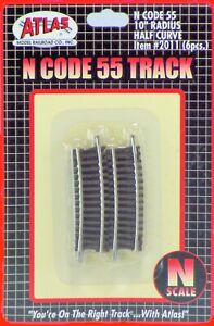 Atlas-N-Scale-Code-55-Track-Section-10-034-Radius-Half-Curve-6-pcs