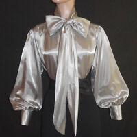 Silver Shiny Liquid Satin Vtg Stl Bow Blouse Top High Neck Shirt S M L 1x 2x 3x