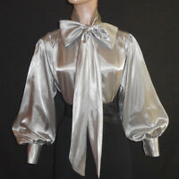 Silver Shiny Liquid Satin Vtg Stl Bow Blouse Top High Neck Shirt S M L 1x 2x 3x
