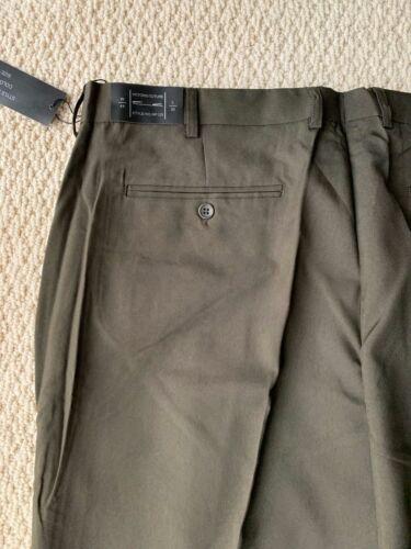 Neuf Avec Étiquettes Homme VICTORIO cuture Vert Olive Flat Front robe pantalon Slacks Toutes les Grandes Taille