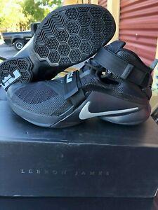 8e8c7ab7 Nike Lebron Soldier IX 749417 001 Black/Metallic Silver Basketball ...